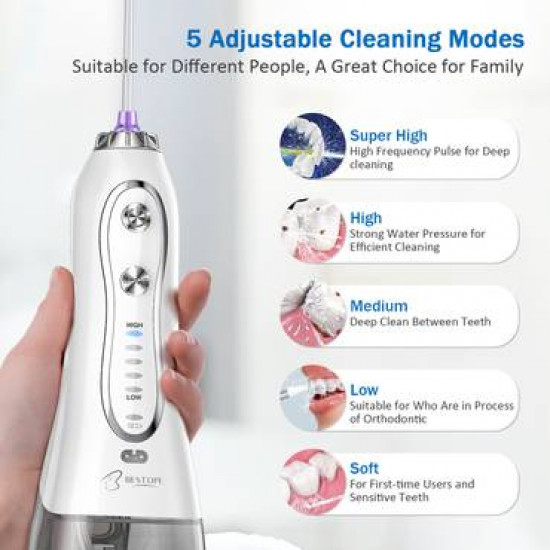 BESTOPE Water Flosser 300ML 5 Modes & 8 Jet Tips - IPX7 Waterproof Cordless Dental Oral Irrigator Portable and Rechargeable Water Flossing for Braces & Bridges Care, Home and Travel